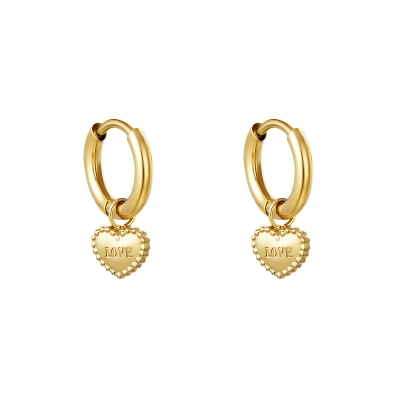 Oorbellen love heart gold