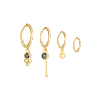 Oorbellen set black gold