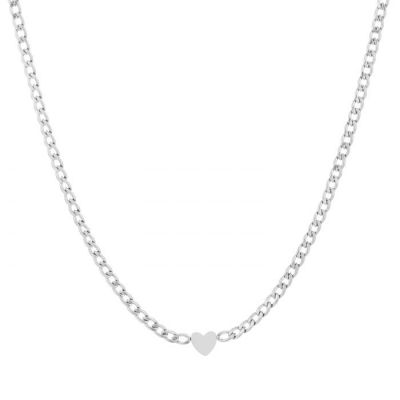 Ketting chunky heart zilver